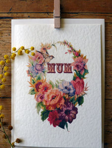 Mum Floral Wreath Card
