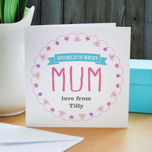 Personalised 'World's Best Mum' Card - personalised cards
