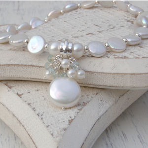 Coin Pearl And Aquamarine Gemstone Necklace