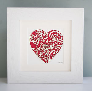 Paper Cut Floral Heart Picture