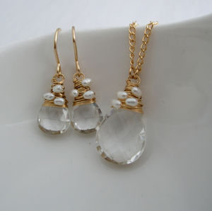 Crystal Quartz And Pearl Set