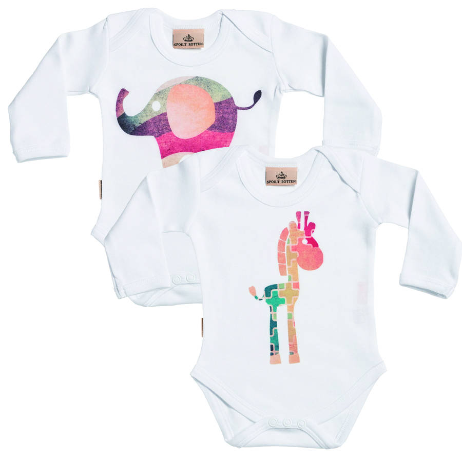 Giraffe And Elephant Babygrow Set