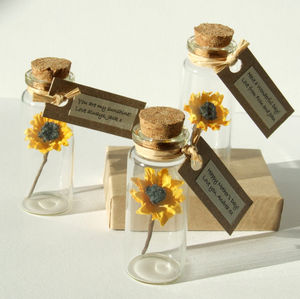 Tiny Sunflower In A Bottle With Personalised Message - wedding, engagement & anniversary cards