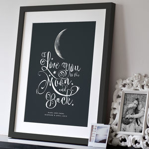 Personalised 'I Love You To The Moon And Back' Print - valentine's gifts for her