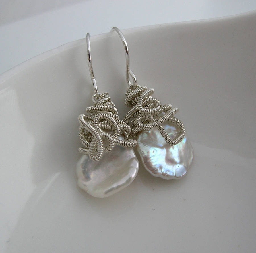 Keshi Pearl Drop Earrings In Sterling Silver