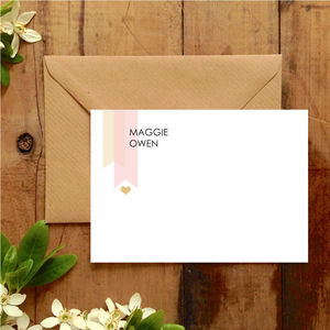 Bespoke Blush Pink And Gold Correspondence Cards - stationery-lover