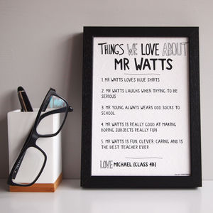 Personalised Things We Love About Our Teacher Print - gifts for teachers