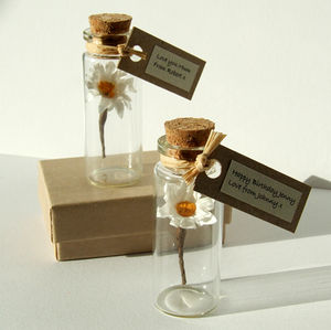 Tiny Personalised Paper Daisy In A Bottle - wedding, engagement & anniversary cards