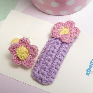 Crochet Flower Hair Clip And Ring Set - hair accessories