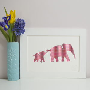 Personalised Baby Elephant And Mother Artwork - new in baby & child