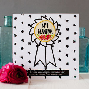 'Number One Grandma' Card With Iron On Award Badge