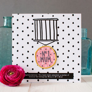 'Number One Mum' Birthday Card With Badge - birthday cards