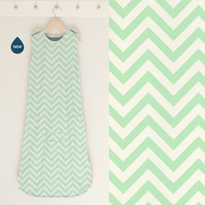 All Season Merino Baby Sleep Bag 'Mint Chevron' - luxury baby care
