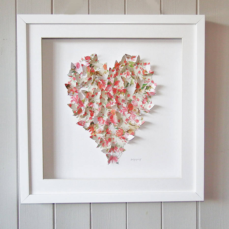 Framed 3d Butterfly Heart Vintage Artwork By Daisy Maison