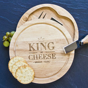 Personalised King Of Cheese Board Set With Knives - dining room