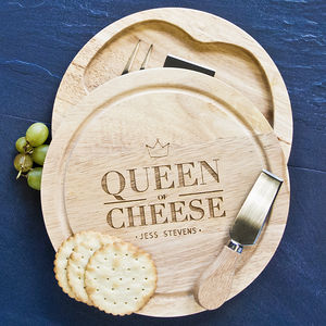 Personalised Queen Of Cheese Board Set With Knives - gifts under £50 for her