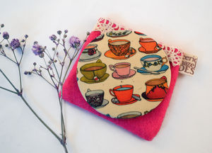 Teacups And Saucers Fabric Pocket Mirror