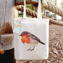 Robin Illustration Cotton Tote Bag