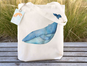 Blue Whale Illustration Tote Bag - womens