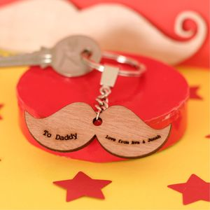 Personalised Wooden Moustache Keyring