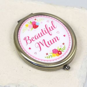 'Beautiful Mum' Floral Compact Mirror