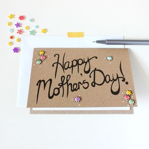 Hand Lettered Floral Mother's Day Card