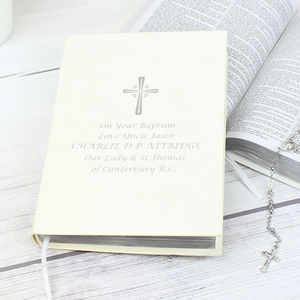 Personalised White And Silver Print Christening Bible - toys & games