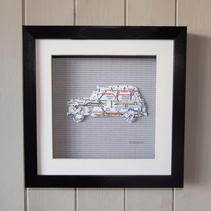 Framed 3D London Taxi - maps & locations