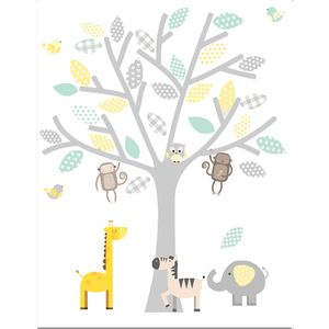 Yellow, Grey And Seagrass Safari - wall stickers