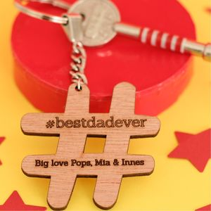 In Your Own Words Personalised Hashtag Wooden Keyring
