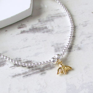 Sterling Silver Beaded Tiny Bumble Bee Bracelet - wedding jewellery