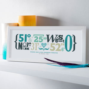 Personalised Coordinates Print - engagement gifts