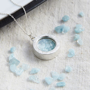 Aquamarine Birthstone Locket Necklace - gifts for her