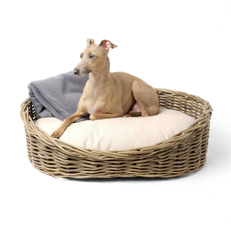 Greywash Rattan Dog Basket And Reversible Mattress By