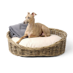 Greywash Rattan Dog Basket And Reversible Mattress