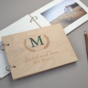 Personalised Monogram Wedding Guest Book - autumn wedding styling