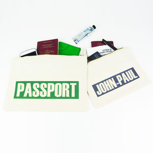 Personalised 'Text' Travel Pouch - passport & travel card holders