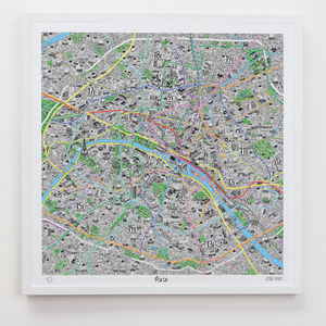 Hand Drawn Map Of Paris - treasured locations & memories