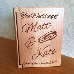 Wooden Wedding Photo Album Interlocking Rings