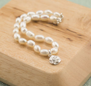 Pearl Bracelet With Silver Rose Blossom Charm - women's jewellery