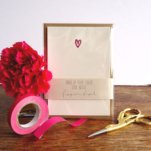 Pack Of Four Foiled Love Notes - wedding stationery