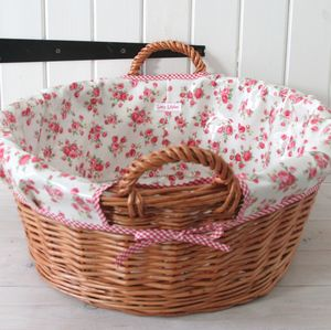 Floral Oilcloth Lined Laundry Basket