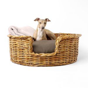Natural Rattan Basket And Reversible Mattress - dogs