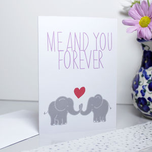 'Me And You Forever' Elephant Card - wedding, engagement & anniversary cards