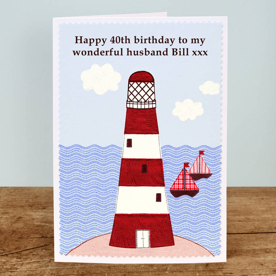 lighthouse\' personalised birthday card by jenny arnott cards & gifts ...