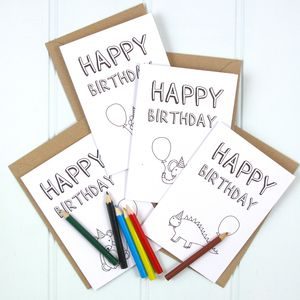 'Happy Birthday' Colour In Card Four Pack - interests & hobbies
