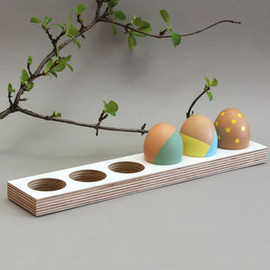 Wooden Egg Tray Long - egg cups & cosies