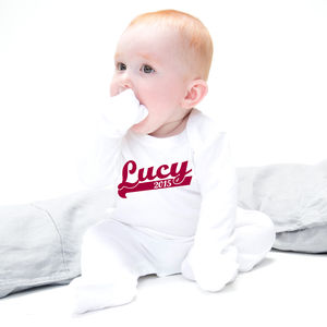 Personalised Baby Baseball Babygrow - nightwear