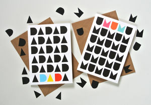 Geometric Mother's Day And Father's Day Cards