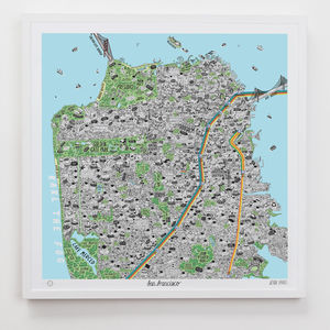 Hand Drawn Map Of San Francisco - treasured locations & memories